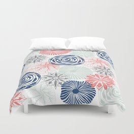 Floral Pattern in Coral Red, Navy Blue and Aqua Duvet Cover