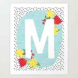M botanical monogram. Letter initial with tulips and daffodils poster Art Print