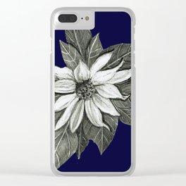 Florida Flower Navy Blue Background Clear iPhone Case
