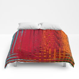 Warm red & turquoise Floor Pattern Art Comforters