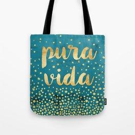 Pura Vida Gold on Teal Tote Bag