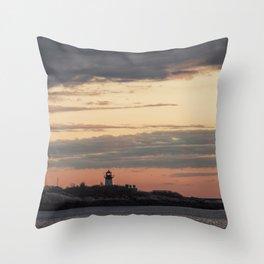 Painted sky over ten pound island light Throw Pillow