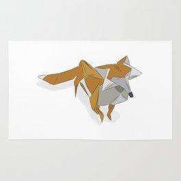 Origami Orange Paper Fox Rug