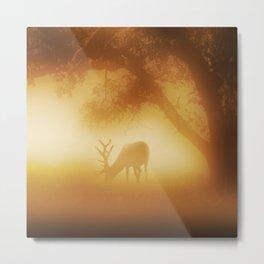 Elk in Early Morning Mist Metal Print