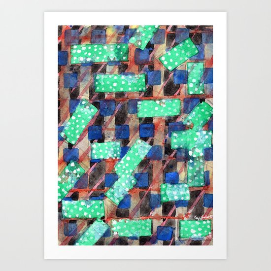 Dotted Green Rectangles on Top Pattern Art Print