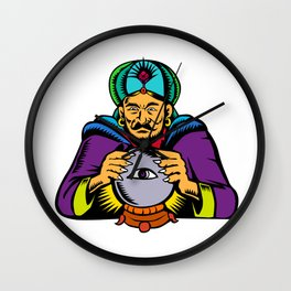 Fortune Teller With Crystal Ball Woodcut Wall Clock