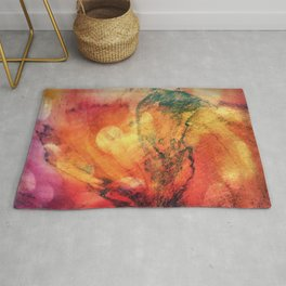 A leaf In The Wood Aflame Abstract Rug