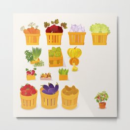 Vegetables Market Metal Print