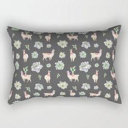 Cute Llamas & Amaryllis Floral Pattern Rectangular Pillow