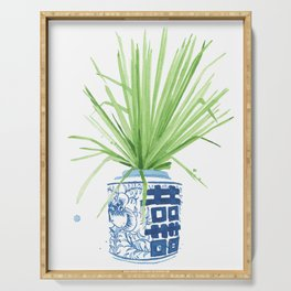 Ginger Jar + Fan Palm Serving Tray