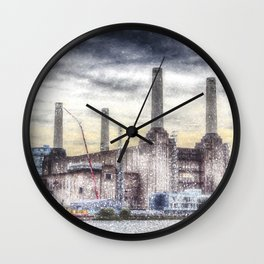 Battersea Power-Station London Snow Wall Clock