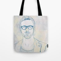 ryan gosling Tote Bags featuring RYAN by Itxaso Beistegui Illustrations