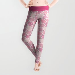 Pink Heart Valentine's Doilies Pattern Leggings