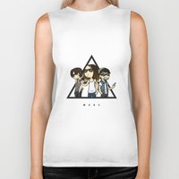 30 rock Biker Tanks featuring 30 Seconds to Cartoon by Chiara Wepfer