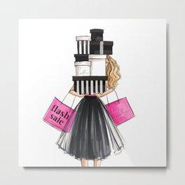 Girl shopping Metal Print