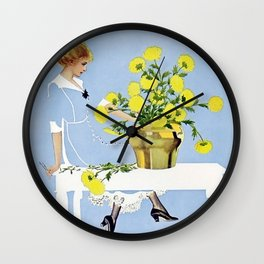 """C Coles Phillips 'Fadeaway Girl' """"The Yellow Bouquet"""" Wall Clock"""