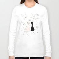 mid century Long Sleeve T-shirts featuring Mid Century Meowdern by Manda Sisco