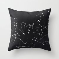 constellation Throw Pillows featuring Constellation by Mille Dørge
