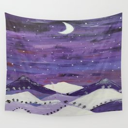Mountains at night Wall Tapestry