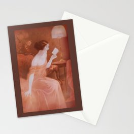 Women in red dress reading a letter  Stationery Cards