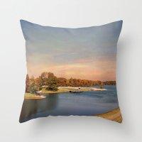 will graham Throw Pillows featuring Autumn at Lake Graham by Jai Johnson