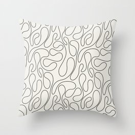 Black Lines Curves Throw Pillow