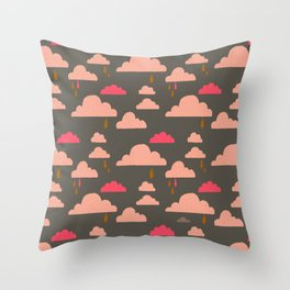 peachy pinky clouds on sage Throw Pillow