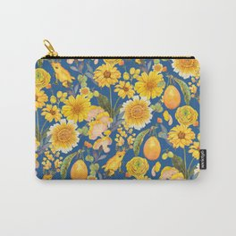 yellow mushroom with pansies - blue Carry-All Pouch