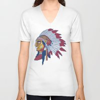 indiana V-neck T-shirts featuring indiana by Hugo Tunes