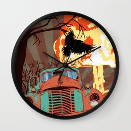 Art print: Atomic explosion, vintage rusted car, raven. Wall Clock
