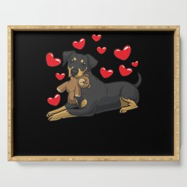 German Pinscher Dog With Stuffed Animal Serving Tray