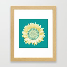 Sunflower Mandala Framed Art Print