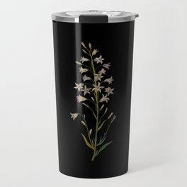 Campanula Rapunculus Mary Delany Delicate Paper Flower Collage Black Background Floral Botanical Travel Mug