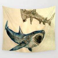 sharks Wall Tapestries featuring Sharks by Jen Hallbrown