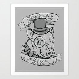Gentleman Pig (S6 Tee) Black & Gray Art Print