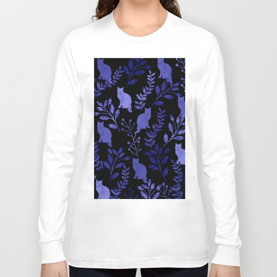 Watercolor Floral and Cat Long Sleeve T-shirt