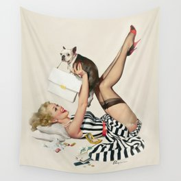 Vintage Pin Up Girl Wall Tapestry