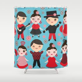 Seamless pattern spanish flamenco dancer. Kawaii cute face with pink cheeks and winking eyes. Shower Curtain
