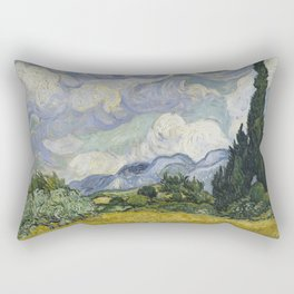 Wheatfield with Cypresses Rectangular Pillow
