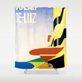 French vintage travel poster Saint-Jean de Luz France Shower Curtain