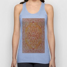 N78 - Orange Antique Oriental Berber Moroccan Style Carpet Design. Unisex Tank Top