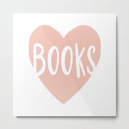 Heart Books - hand lettered Metal Print
