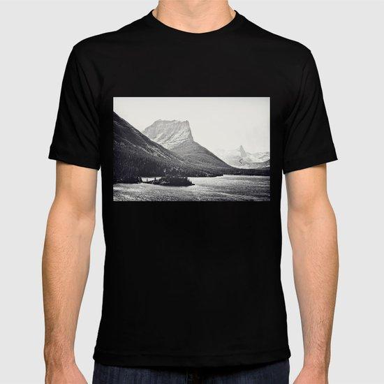 Glacier Mountain Lake Black and White T-shirt