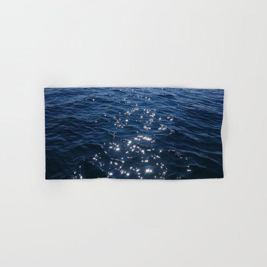 Sparkly Deep Blue Sea Waves Hand & Bath Towel