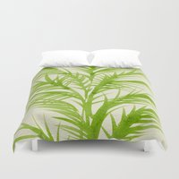 lime Duvet Covers featuring Lime Palms by Cat Coquillette