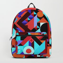 CRAZY CHAOS ABSTRACT GEOMETRIC SHAPES PATTERN (ORANGE RED WHITE BLACK BLUES) Backpack