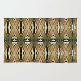 Olive Green Caramel Coffee  Brown Rustic Native American Indian Cabin Mosaic Pattern Rug