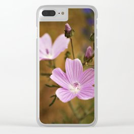 Pink wild flowers Clear iPhone Case