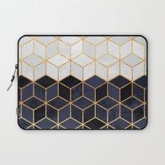 White & Navy Cubes Laptop Sleeve