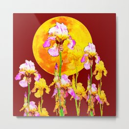 BURGUNDY SKY IRIS GARDEN RISING GOLDEN MOON Metal Print